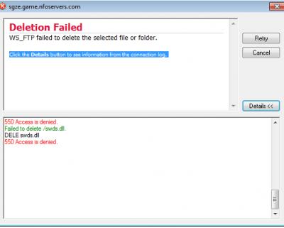 FTP ERROR 550 ACCESS DENIED